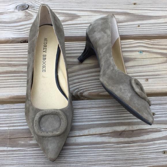 8351d0389d8 Audrey Brooke Shoes - Audrey Brooke Moss Green Suede Kitten Heel pumps